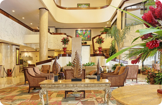 The lobby of the Holiday Inn San Jose in Costa Rica.